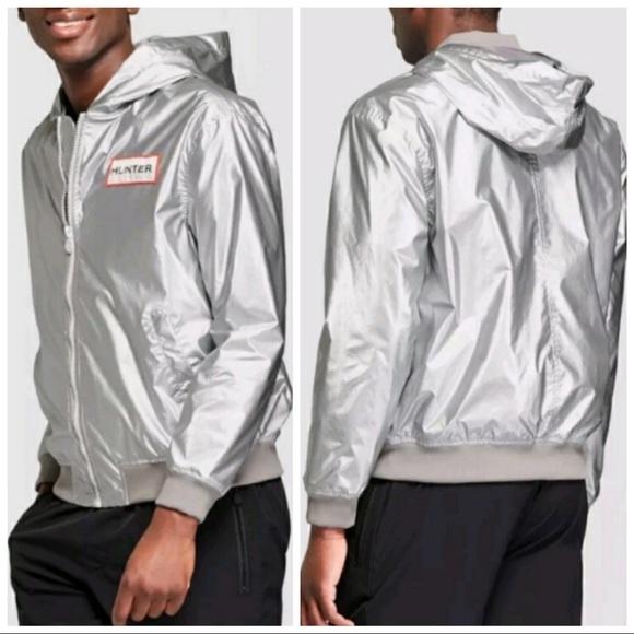 03c48b4aa •HUNTER TARGET• Silver Hooded Windbreaker Jacket NWT